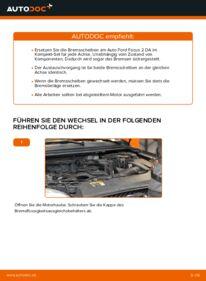 Wie der Wechsel durchführt wird: Bremsscheiben Ford Focus mk2 Limousine 1.6 TDCi 1.8 TDCi 1.6 tauschen