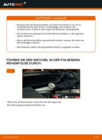 Wie der Wechsel durchführt wird: Bremsscheiben Ford Fiesta V jh jd 1.4 TDCi 1.4 16V 1.3 tauschen