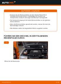 Wie der Wechsel durchführt wird: Bremsscheiben Skoda Fabia 6y5 1.4 16V 1.9 TDI 1.2 tauschen