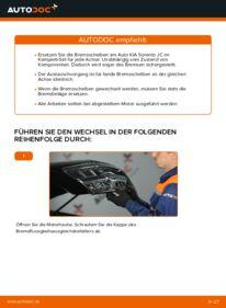 Wie der Wechsel durchführt wird: Bremsscheiben KIA Sorento jc 2.5 CRDi 2.4 3.5 V6 tauschen