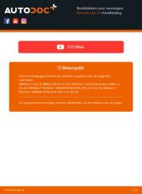 Vervanging uitvoeren: Remblokken RENAULT CLIO