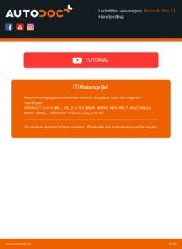 Vervanging uitvoeren: Luchtfilter RENAULT CLIO