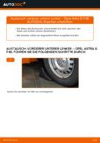 Wie Opel Astra G F48 vorderer unterer Lenker wechseln - Schritt für Schritt Anleitung