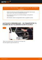 Brauchbare Handbuch zum Austausch von Bremsbelagsatz beim VW TRANSPORTER IV Bus (70XB, 70XC, 7DB, 7DW)