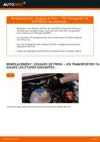 Comment changer : disques de frein arrière sur VW Transporter T4 - Guide de remplacement