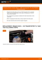 Online manual on changing Brake disc set yourself on VW TRANSPORTER IV Bus (70XB, 70XC, 7DB, 7DW)