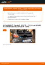 Step by step PDF-tutorial on Accessory Kit, disc brake pads TOYOTA AYGO (WNB1_, KGB1_) replacement