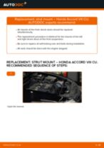 How to change Wheel speed sensor on HONDA ACCORD VIII (CU) - manual online