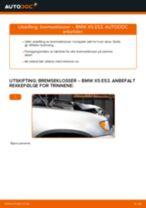 Hvordan bytte og justere Bremsekloss BMW X5: pdf håndbøker