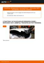 Skifte slitasjevarsler bremseklosser fremme: Mercedes W211 | Steg for steg
