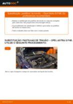 Como mudar pastilhas de travão da parte dianteira em Opel Astra G F48 - guia de substituição