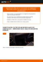 Quando mudar Filtro de ar do habitáculo MERCEDES-BENZ E-CLASS (W210): pdf manual
