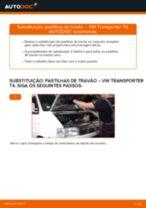 Como mudar pastilhas de travão da parte dianteira em VW Transporter T4 - guia de substituição