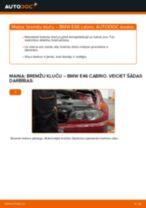 Tiešsaistes rokasgrāmata, kā pašam mainīt Bremžu uzlikas uz BMW 3 Convertible (E46)