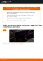 Kā nomainīt: recirkulācijas salona filtru Mercedes W210 - nomaiņas ceļvedis