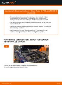 Wie der Wechsel durchführt wird: Bremsscheiben Opel Astra g f48 1.6 16V (F08, F48) 1.6 (F08, F48) 1.4 16V (F08, F48) tauschen