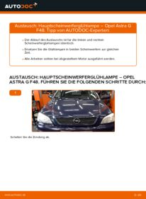 Wie der Wechsel durchführt wird: Hauptscheinwerfer Glühlampe Opel Astra g f48 1.6 16V (F08, F48) 1.6 (F08, F48) 1.4 16V (F08, F48) tauschen