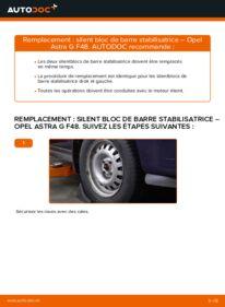 Comment effectuer un remplacement de Silent Bloc de Barre Stabilisatrice sur 1.6 16V (F08, F48) Opel Astra g f48
