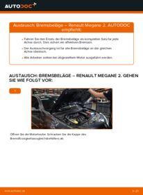 Wie der Wechsel durchführt wird: Bremsbeläge 1.6 RENAULT MEGANE II Saloon (LM0/1_) tauschen