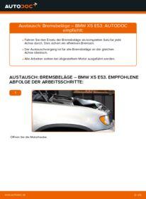 Wie der Wechsel durchführt wird: Bremsbeläge BMW E53 3.0 d 3.0 i 4.4 i tauschen