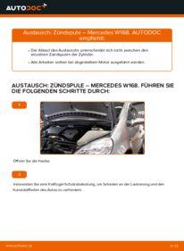 Wie der Wechsel durchführt wird: Zündspule A 140 1.4 (168.031, 168.131) Mercedes W168 tauschen
