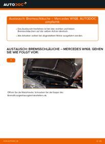Wie der Wechsel durchführt wird: Bremsschläuche A 140 1.4 (168.031, 168.131) Mercedes W168 tauschen