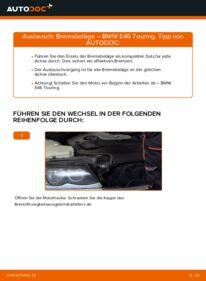 Wie der Wechsel durchführt wird: Bremsbeläge 320d 2.0 BMW 3 Touring (E46) tauschen