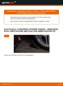 Wie der Wechsel durchführt wird: Querlenker Mercedes W210 E 300 3.0 Turbo Diesel (210.025) E 220 CDI 2.2 (210.006) E 200 2.0 (210.035) tauschen
