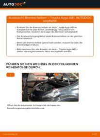 Wie der Wechsel durchführt wird: Bremsscheiben 1 Toyota Aygo ab1 tauschen