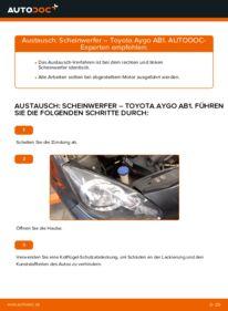 Wie der Wechsel durchführt wird: Hauptscheinwerfer Toyota Aygo ab1 1 1.4 HDi 1.0 GPL (KGB10_) tauschen