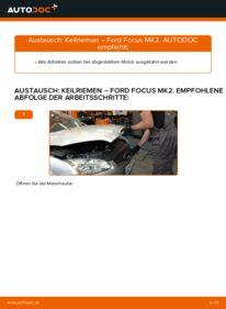Wie der Wechsel durchführt wird: Keilrippenriemen 1.6 TDCi Ford Focus mk2 Limousine tauschen