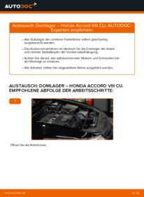 Wie der Wechsel durchführt wird: Domlager Honda Accord VIII CU 2.0 i (CU1) 2.2 i-DTEC (CU3) 2.4 i (CU2) tauschen