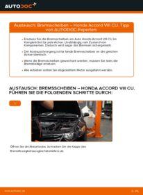 Wie der Wechsel durchführt wird: Bremsscheiben 2.0 i (CU1) Honda Accord VIII CU tauschen