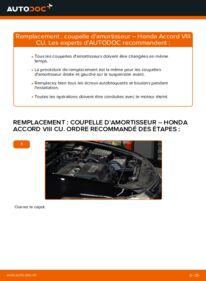 Comment effectuer un remplacement de Coupelle d'Amortisseur sur 2.0 i (CU1) Honda Accord VIII CU