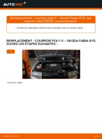 Comment effectuer un remplacement de Courroie Trapézoïdale à Nervures sur 1.4 16V Skoda Fabia 6y5