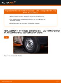How to carry out replacement: Anti Roll Bar Bushes on 2.5 TDI VW T4 Transporter