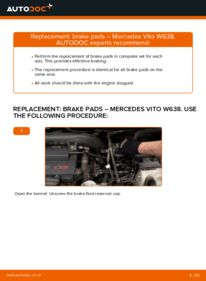 How to carry out replacement: Brake Pads on 112 CDI 2.2 (638.194) Mercedes W638 Minibus