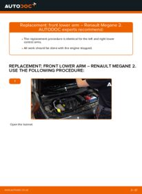 How to carry out replacement: Control Arm on 1.6 RENAULT MEGANE II Saloon (LM0/1_)