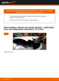 How to carry out replacement: Brake Pad Wear Sensor on MERCEDES-BENZ E-CLASS