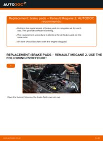 How to carry out replacement: Brake Pads on 1.6 RENAULT MEGANE II Saloon (LM0/1_)