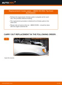 How to carry out replacement: Brake Pads on 3.0 d BMW E53