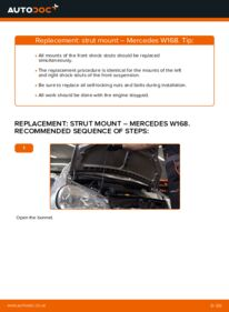 How to carry out replacement: Strut Mount on A 140 1.4 (168.031, 168.131) Mercedes W168