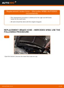 How to carry out replacement: Brake Hose on A 140 1.4 (168.031, 168.131) Mercedes W168