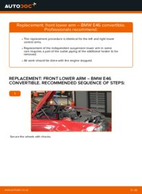 How to carry out replacement: Control Arm on 330Ci 3.0 BMW 3 Convertible (E46)