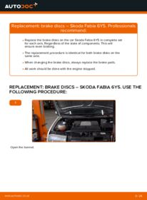How to carry out replacement: Brake Discs on 1.4 16V Skoda Fabia 6y5