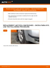How to carry out replacement: Anti Roll Bar Bushes on 1.4 16V Skoda Fabia 6y5