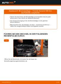 Wie der Wechsel durchführt wird: Bremsbeläge 2.0 i (CU1) Honda Accord VIII CU tauschen