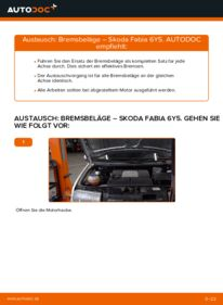 Wie der Wechsel durchführt wird: Bremsbeläge 1.4 16V Skoda Fabia 6y5 tauschen