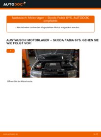 Wie der Wechsel durchführt wird: Motorlager Skoda Fabia 6y5 1.4 16V 1.9 TDI 1.2 tauschen
