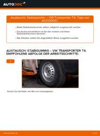 Wie der Wechsel durchführt wird: Stabigummis VW T4 Transporter 2.5 TDI 2.4 D 1.9 TD tauschen